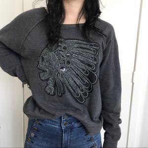 Denim & Supply Skull Indian Headdress Sweater